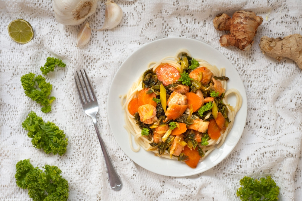Salmon and Kale Stir-Fry