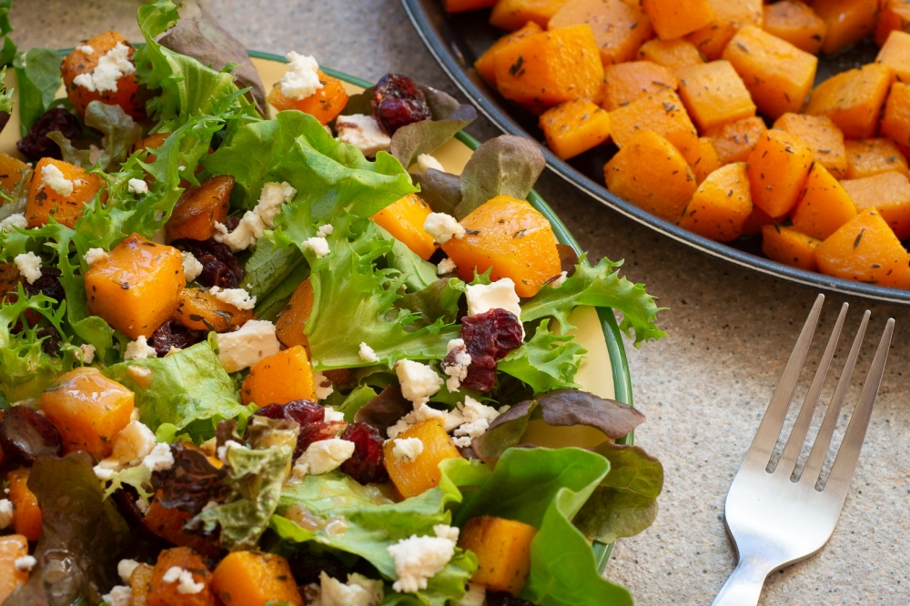 Roasted Butternut Squash Salad with Feta, Greens and Cranberries